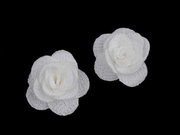 dekorativna roža, iz blaga, 30 mm,  krem bela b., 1 kos