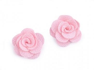 dekorativna roža, iz blaga, 30 mm, sv. roza b., 1 kos