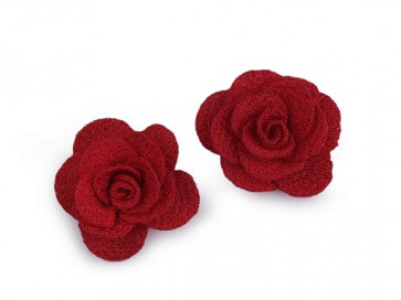 dekorativna roža, iz blaga, 30 mm,  rdeča b., 1 kos