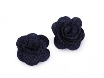 dekorativna roža, iz blaga, 30 mm,  t. modra b., 1 kos