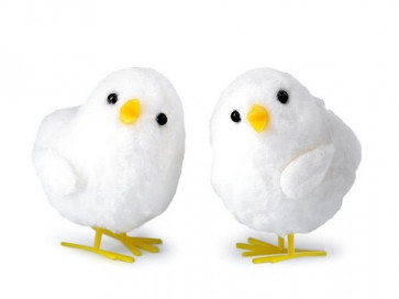 dekorativni piščanček, velikost: 4.5x6.5 cm, bela b., 1 kos