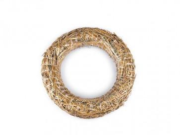 obroč iz slame - osnova za venček, naraven material, zunanji premer: Ø25 cm, debelina: Ø3.8 cm, 1 kos