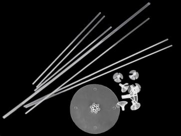 stojalo za balone, 70x17,5 cm, prozorna, 1 komplet (15 kos)