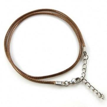 osnova za ogrlico - povoščena, rjava, 1 kos