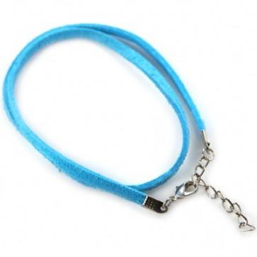 osnova za ogrlico - žametna, modra, 48 cm, 1 kos