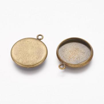 osnova za obesek - medaljon 19x16x2mm, antik, brez niklja, velikost kapljice: 14 mm, 1 kos