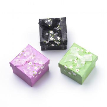 darilna embalaža, 5,1x5,1x5,3,9 cm, zelena b., 1 kos