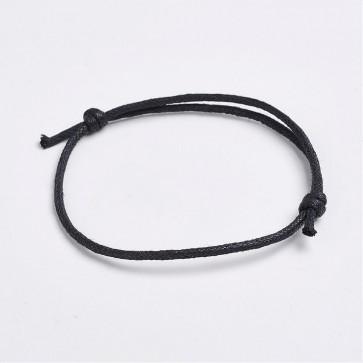 osnova za zapestnico - bombažna vrvica, nastavljiva, 50~75x2 mm, črna, 1 kos