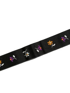 dekorativni trak 10 mm, črni z rožicami, 1 m