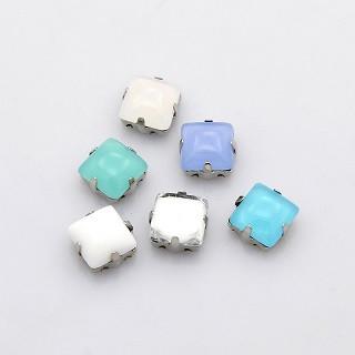 akrilne perle v kovinski osnovi 10x10x6.5 mm, mix, 1 kos