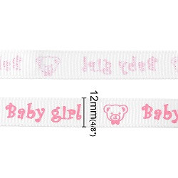 satenasti trak 12 mm, beli, napis: Baby girl, 1 m