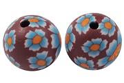 fimo perle okrogle 10 mm, rjave, ročno delo, 5 kos