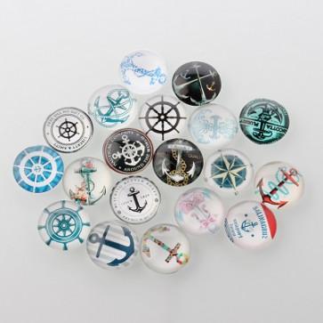 steklena kapljica 10 mm, morski mix, 1 kos