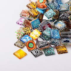 steklena kapljica 20x20x5 mm, ornament, mix, 1 kos