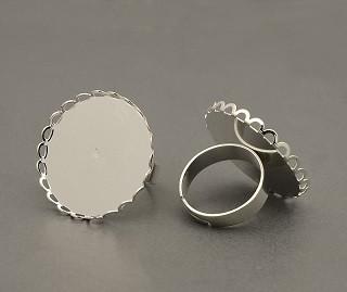 osnova za prstan za kapljico 25 mm, premer nastavljivega obročka: 17 mm, srebrne b., 1 kos