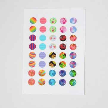 slike za kapljice, 12 mm, mix, 1 listič (35~40 kos)