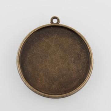 osnova za obesek - medaljon 37x33x3mm, antik, brez niklja, velikost kapljice: 30 mm, 1 kos