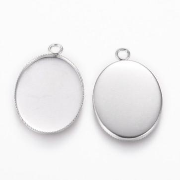 osnova za obesek - medaljon iz nerjavečega jekla, ovalne oblike, 29.5x19x1 mm, luknja: 2.5 mm, velikost kapljice 25x18 mm, 1 kos