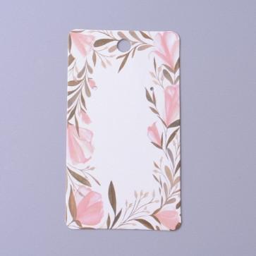 kartonček za uhane 9x5 cm, bele barve z vzorcem cvetja, 1 kos