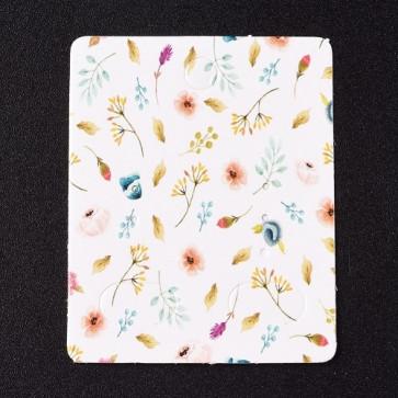 kartonček za uhane 5x4 cm, z vzorcem cvetja, 1 kos