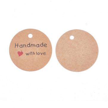 """kartonček z napisom """"Handmade with love"""", rjave barve, okrogel - premer 45 mm, 1 kos"""