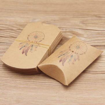 """darilna škatla z vzorcem """"lovilec sanj"""", 8x5.5x2 cm, naravne b., 1 kos"""