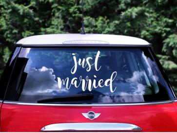 """nalepka avtomobila """"Just married"""", 33x45 cm, 1 komplet"""