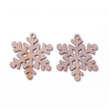 leseni obesek - snežinka, 60x53x2.5 mm, velikost luknje: 3 mm, naravne b., 1 kos