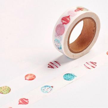 Washi tape - dekorativni lepilni trak - baloni, širina: 15 mm, dolžina: 10 m, 1 kos