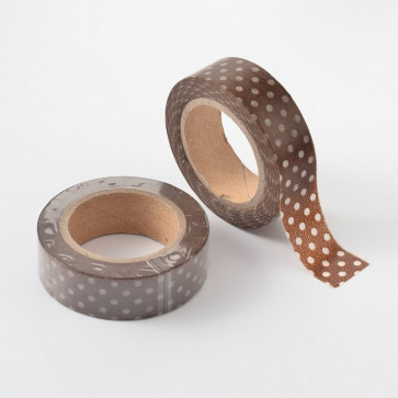 Washi tape - dekorativni lepilni trak - rjav s pikami, širina: 15 mm, dolžina: 10 m, 1 kos