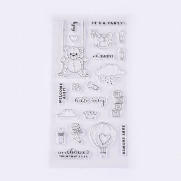 silikonske štampiljke 5~81x8~45 mm, Baby Shower, 1 komplet