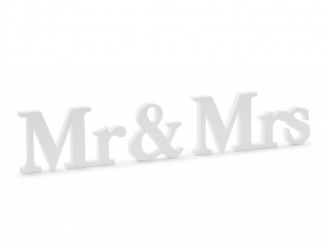 """leseni napis """"Mr&Mrs"""", bel, 50x9,5 cm, 1 kos"""