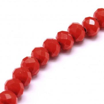 steklene perle, nepravilno okrogle 8x6 mm, rdeče, 1 niz - cca 67 kos