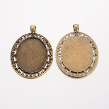 osnova za obesek - medaljon 61x42x2mm, antik, brez niklja, velikost kapljice: 30x40 mm, 1 kos