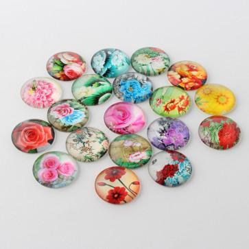 steklena kapljica 10 mm, cvetje mix, 1 kos