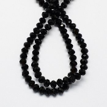 steklene perle nepravilno okrogle, 10x7 mm, črne, 1 niz - cca 72 kos