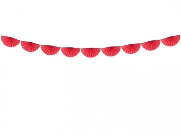 "okrasni trak rozete, ""girlande"", rdeča, 3 m, 1 komplet"