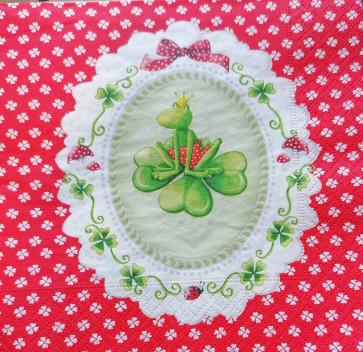 papirnate serviete 33x33 cm, 3-slojne, žabica, 1 kos