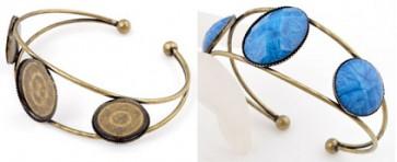 kovinska osnova za zapestnico, antik, 1 kos