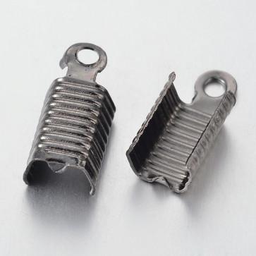 zaključni element za vrvico 13x5 mm, črne b., brez niklja, 10 kos