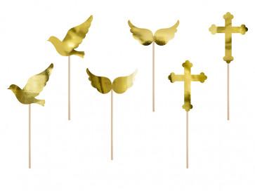 napisi za torto (topper), zlato, 8,5-11 cm, 1 komplet (6 kosov)