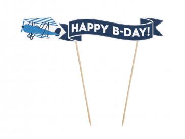 """napis za torto (topper), modre b., """"HAPPY B-DAY"""", 19x18 cm, 1 kos"""