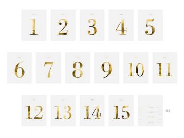 oznake miz in steklenic, zlato-bela, 9,5x12cm, 1 komplet (30 kosov)
