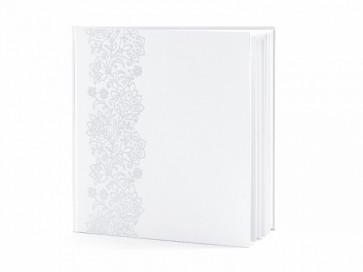 knjiga gostov/album, bela z vzorcem čipke, 20,5x20,5 cm, 1 kos