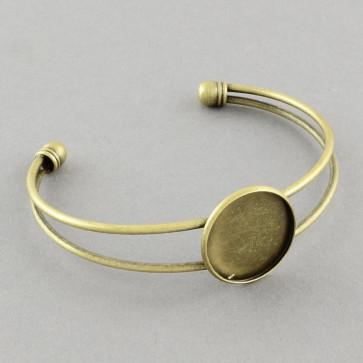 kovinska osnova za zapestnico 64 mm, antik, velikost kapljice: 25 mm, 1 kos