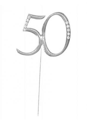 """kovinski napis za torto 50 """"topper"""", srebre b., 4,5x6,5 cm, 1 kos"""