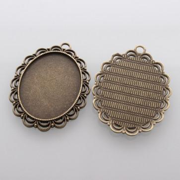 osnova za obesek - medaljon 54x40x3mm, antik, brez niklja, velikost kapljice: 30x40 mm, 1 kos