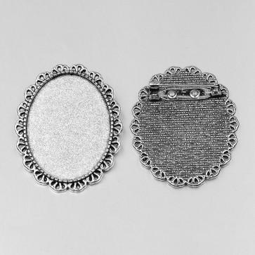 osnova za broško 48x39x2 mm, b. starega srebra, velikost kapljice: 30x40 mm, 1 kos
