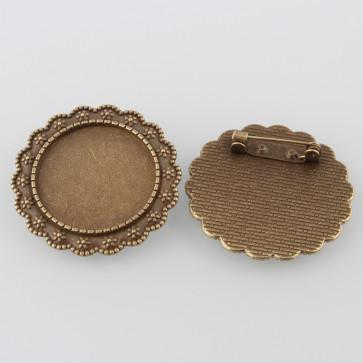 osnova za broško 35.5x2 mm, antik, brez niklja, velikost kapljice: 25 mm, 1 kos