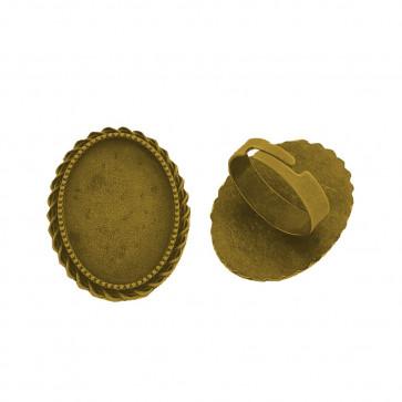 osnova za prstan za kapljico 18 x 25 mm, premer nastavljivega obročka: 17 mm, antik zlata, brez niklja, 1 kos